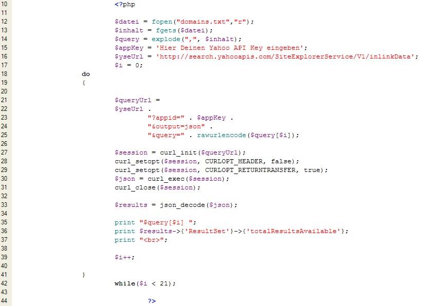Yahoo-API-mit-PHP